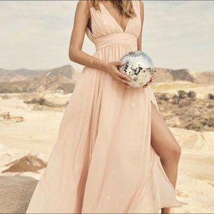 Lulu's Heavenly Hues Maxi Gown Pink Chiffon Dress